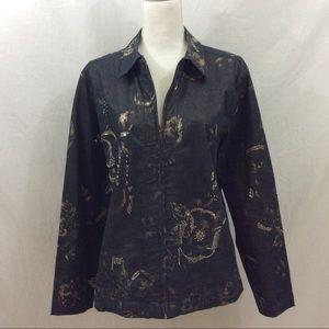 Chico's Mixed Metal Embellished Denim Jacket